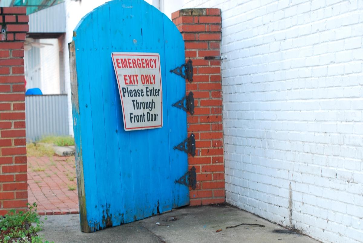 please enter through frontdoor